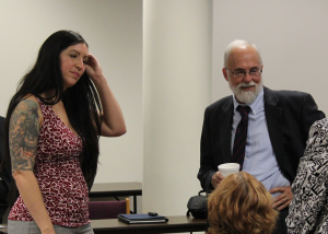 Parent Advocate Kate Wykoff and Director Martin discuss positive results of SFSC efforts in Erie County.  See more event photos on the DODD Facebook page.