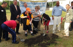 Shovel Ready Breaking new ground are (l. to r.) Carl, Ray, Zina, and Keith, along with City of West Carrollton officials and the owners of Community Concepts. Photo courtesy, Sara Lawson