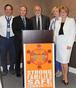 In Hancock County, presenters describing the collaborative efforts supported by SFSC grant dollars included:       (L. to R.) Craig Kupferberg, Findlay City Schools; Josh Ebling, Family Resource Center; Director Martin; Connie Ament, HCBDD, and Precia Stuby, Hancock County Board of Alcohol, Drug Addiction and Mental Health Services.