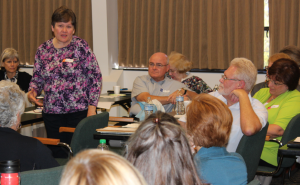 """(Right) Beth Roberts, parent advocate, shares her story with the group, adding, """"Thank you for being so welcoming, and making us feel valued and important."""""""