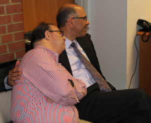 Brothers Jeff Fadel (left) and Dean Fadel relax before their presentation to Family Advisory Council.