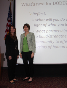 Elizabeth Ranade Janis (left), Anti-Trafficking Coordinator, Ohio Department of Public Safety, and Michelle Hannan, Director of Professional and Community Services, The Salvation Army, trained Service and Support Administrators and Investigative Agents in Ohio's DD service system on Human Trafficking, and what to do if they suspect a person with developmental disabilities is a victim of human trafficking.