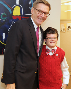 Logan Brinson, HCDDS self advocate, with Probate Judge Candidate Charlie Luken at the recent Advocacy Leadership Network public election forum.