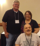 Right: From Portage County, Kevin O'Connor (front) with his sister, Maureen Brawn, and her husband all enjoyed the camaraderie at this year's OhioSIBS conference.