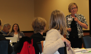 Following Director Martin's presentation, there were several comments and questions. Here, session participant Sally Meckling takes the microphone to share her thoughts.