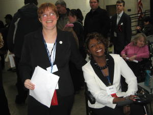 Look Out When This Dynamic Duo Teams Up at the Statehouse! Christine Brown (left) and Shari Cooper have the energy to match their enthusiasm for DD Awareness and Advocacy Day. Christine is a state leader on legislative advocacy issues, and Shari Cooper, MC for the event, kept the program moving along and displayed her ready wit and grace under pressure.