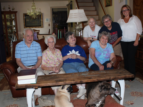 Ohio Shared Living Opportunities offer family home relationships in the community. At home in Mahoning County are (L. to R>) Sam, Mary Lou, and Susan Neva, with Regina, Lori, Debbie, and Kathy. Photo from Pipeline Quarterly, Summer 2014. See all issues online at Pipeline Quarterly.