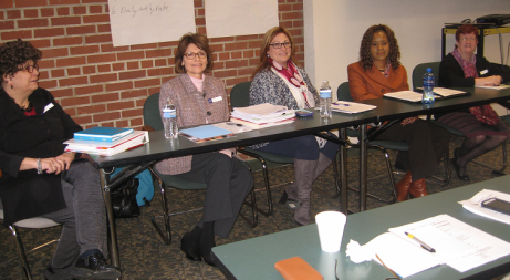 "A panel of Strategic Planning Leadership Group (SPLG) members answered Family Advisory Council questions about the processes used to arrive at and recommend benchmarks for Ohio's DD system during the next ten years. (L. to R.: Barb Sapharas, Pat Cloppert, Kathy Phillips, Icilda Dickerson, and Diana Mairose.) Cloppert, a parent advocate, commented:    ""While we didn't always agree on things, the process was always respectful, and the vote to adopt an idea had to be a 75 percent 'yes vote' from the group."""