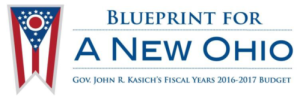State flag with the words - Blueprint for a New Ohio, Gov. John R. Kasich's Fiscal Years 2016-2017 Budget